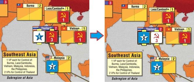 El ruso controla Tailandia pero el americano le arrebata su control usando la Carta China para colocar 4 influencias allí.